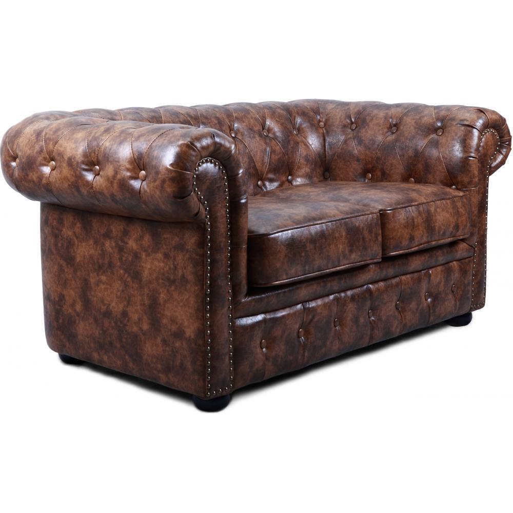 canap chesterfield 2 places cuir marron vintage susan. Black Bedroom Furniture Sets. Home Design Ideas