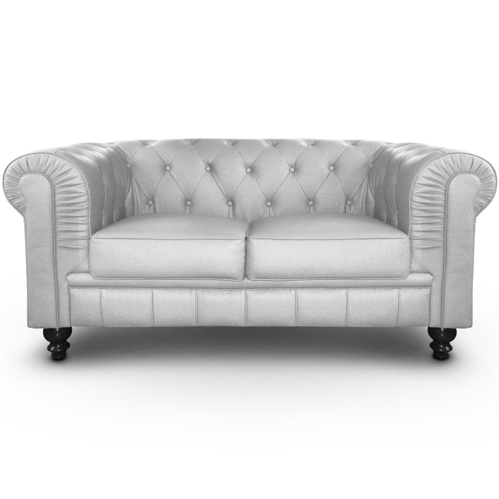 canap chesterfield 2 places imitation cuir argent british. Black Bedroom Furniture Sets. Home Design Ideas
