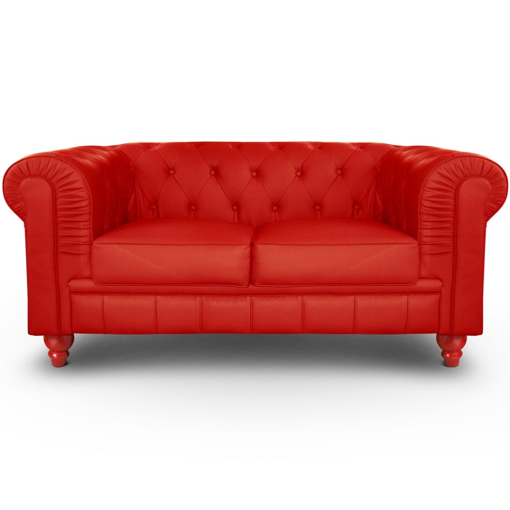 Canap chesterfield 2 places imitation cuir rouge british - Canape chesterfield rouge cuir ...