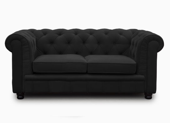 canap chesterfield 2 places velours noir el gance. Black Bedroom Furniture Sets. Home Design Ideas