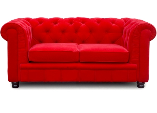 Canap chesterfield 2 places velours rouge el gance - Canape rouge velours ...