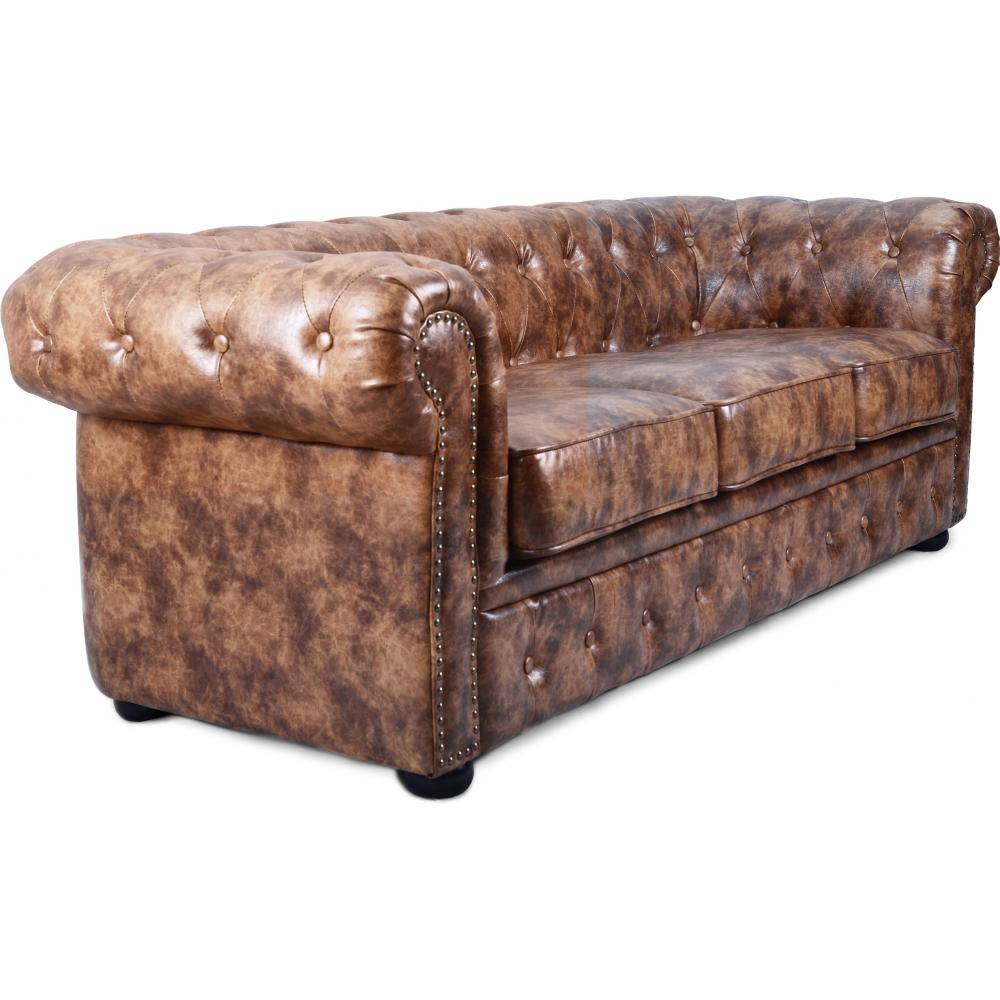 canap chesterfield 3 places cuir marron clair susan. Black Bedroom Furniture Sets. Home Design Ideas