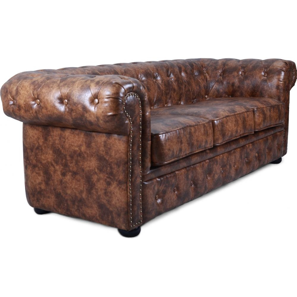 Canap chesterfield 3 places cuir marron vintage for Canape cuir marron vieilli