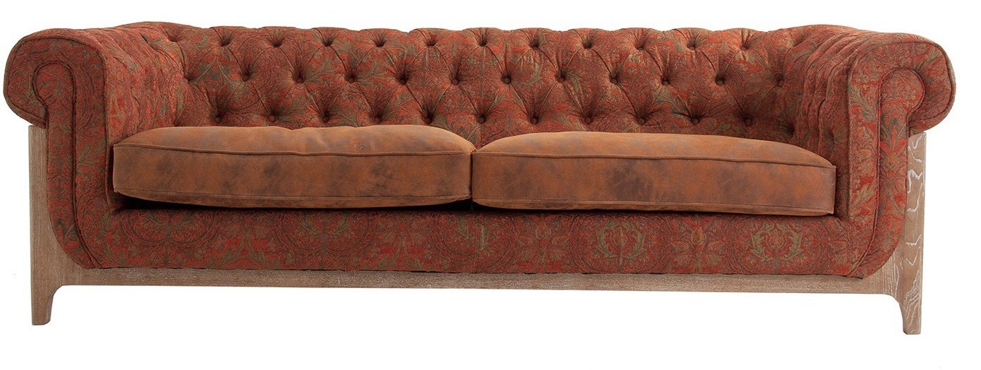 canap chesterfield 4 places tissu marron et pieds fr ne. Black Bedroom Furniture Sets. Home Design Ideas