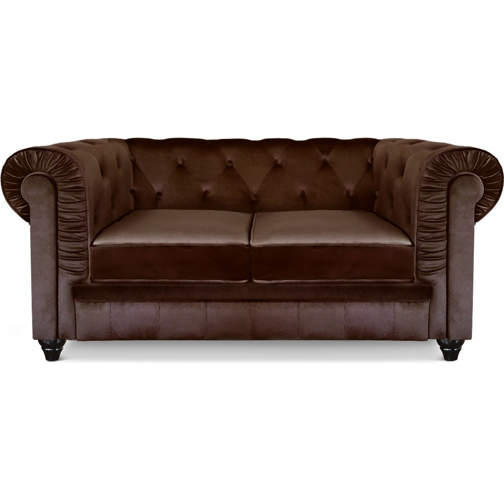 Canap chesterfield velours 2 places for Chesterfield canape