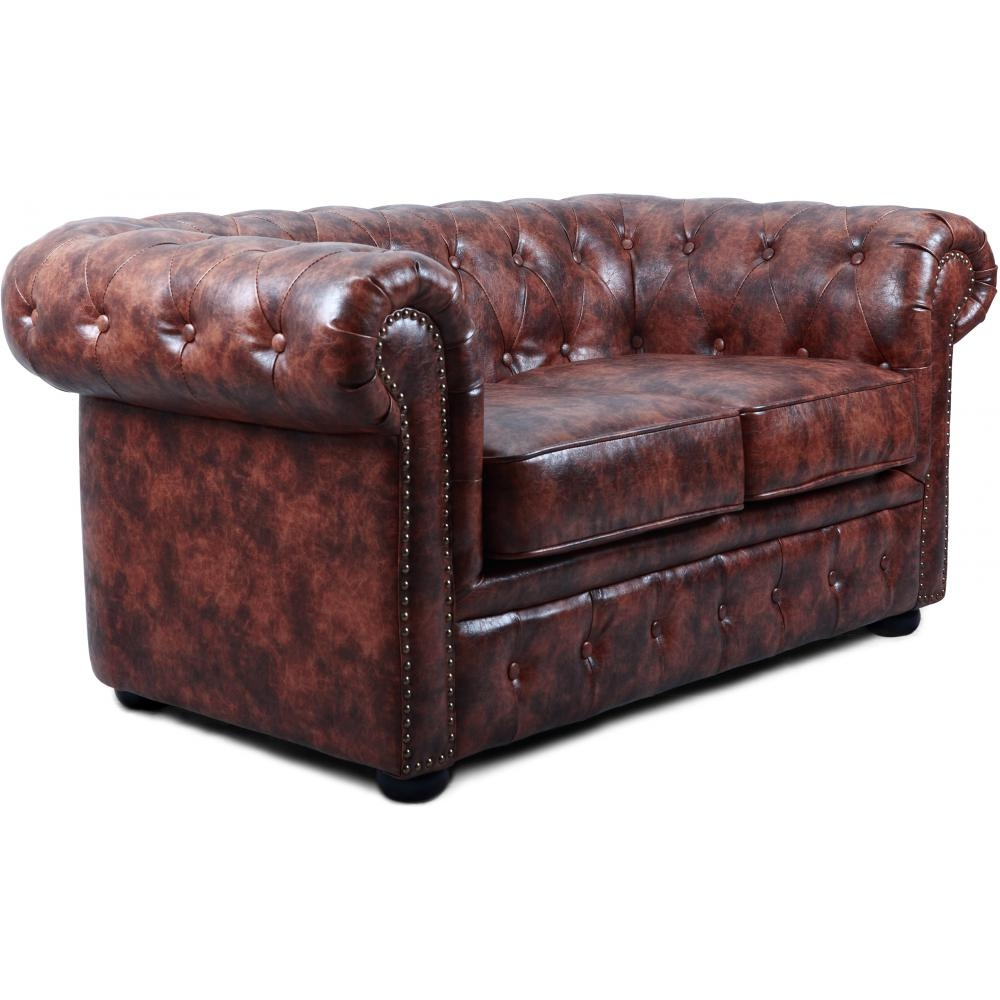 Canap chesterfield vintage 2 places cuir cognac for Canape cuir bordeaux 2 places