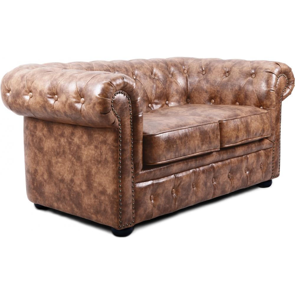 Canap chesterfield vintage 2 places cuir marron clair for Canape chesterfield 2 places
