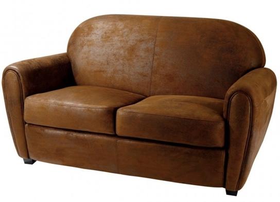 canap club 3 places aspect cuir vieilli. Black Bedroom Furniture Sets. Home Design Ideas