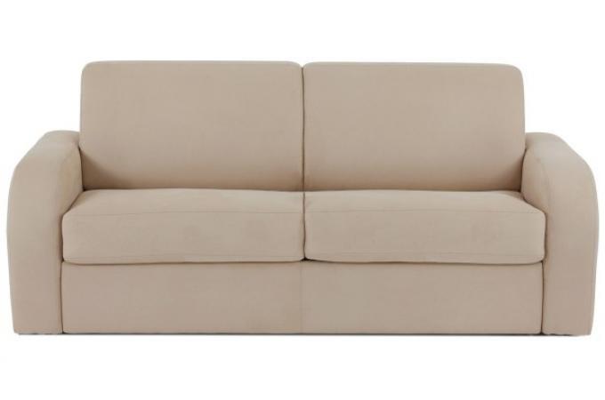 canap convertible 2 places cuir beige sareno 120. Black Bedroom Furniture Sets. Home Design Ideas
