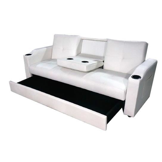canap lit simili cuir blanc mokar 3 places. Black Bedroom Furniture Sets. Home Design Ideas