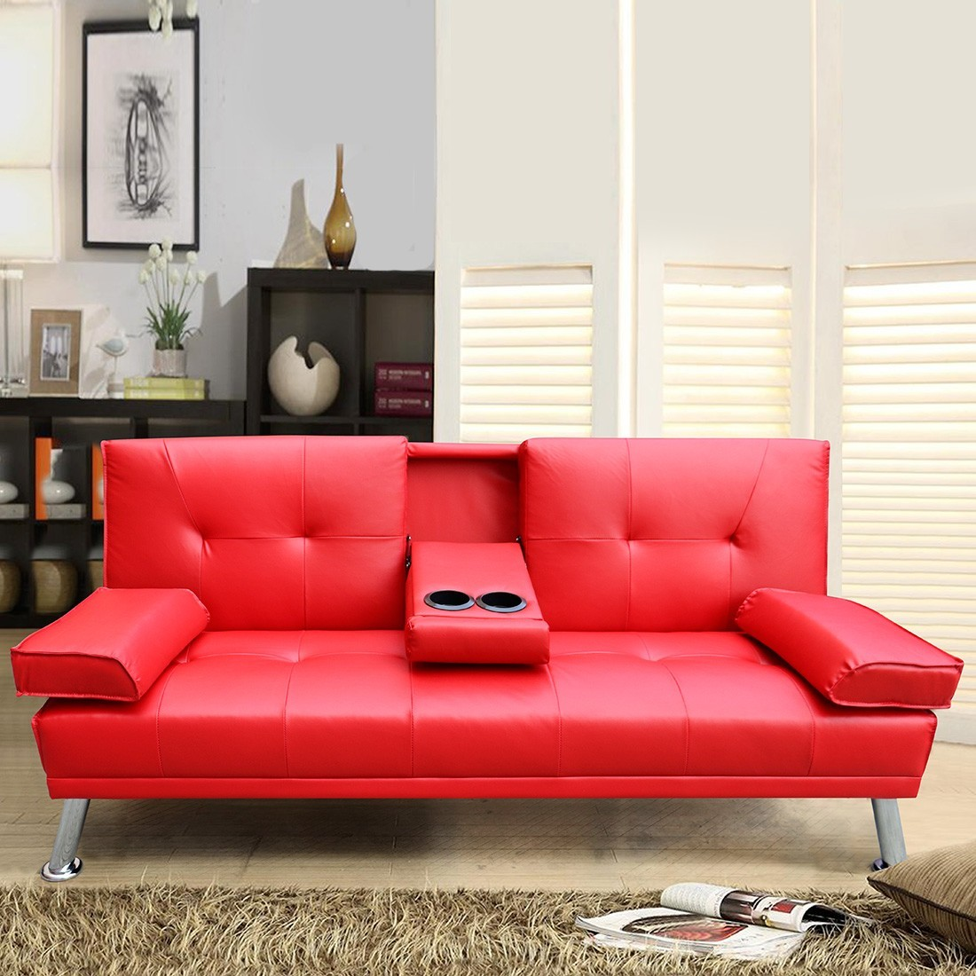 canap lit simili cuir rouge drink 3 places. Black Bedroom Furniture Sets. Home Design Ideas