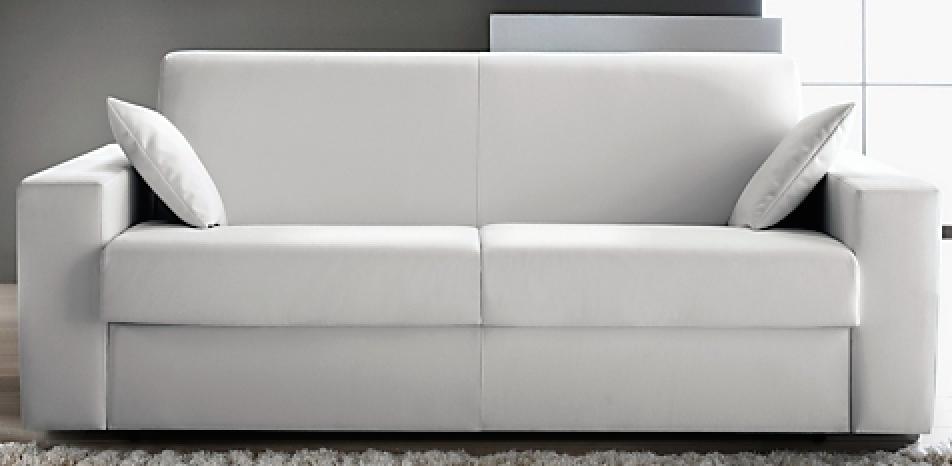 Canapé Convertible Revêtement Simili Cuir Blanc Konia Modéle Place - Canapé lit simili cuir