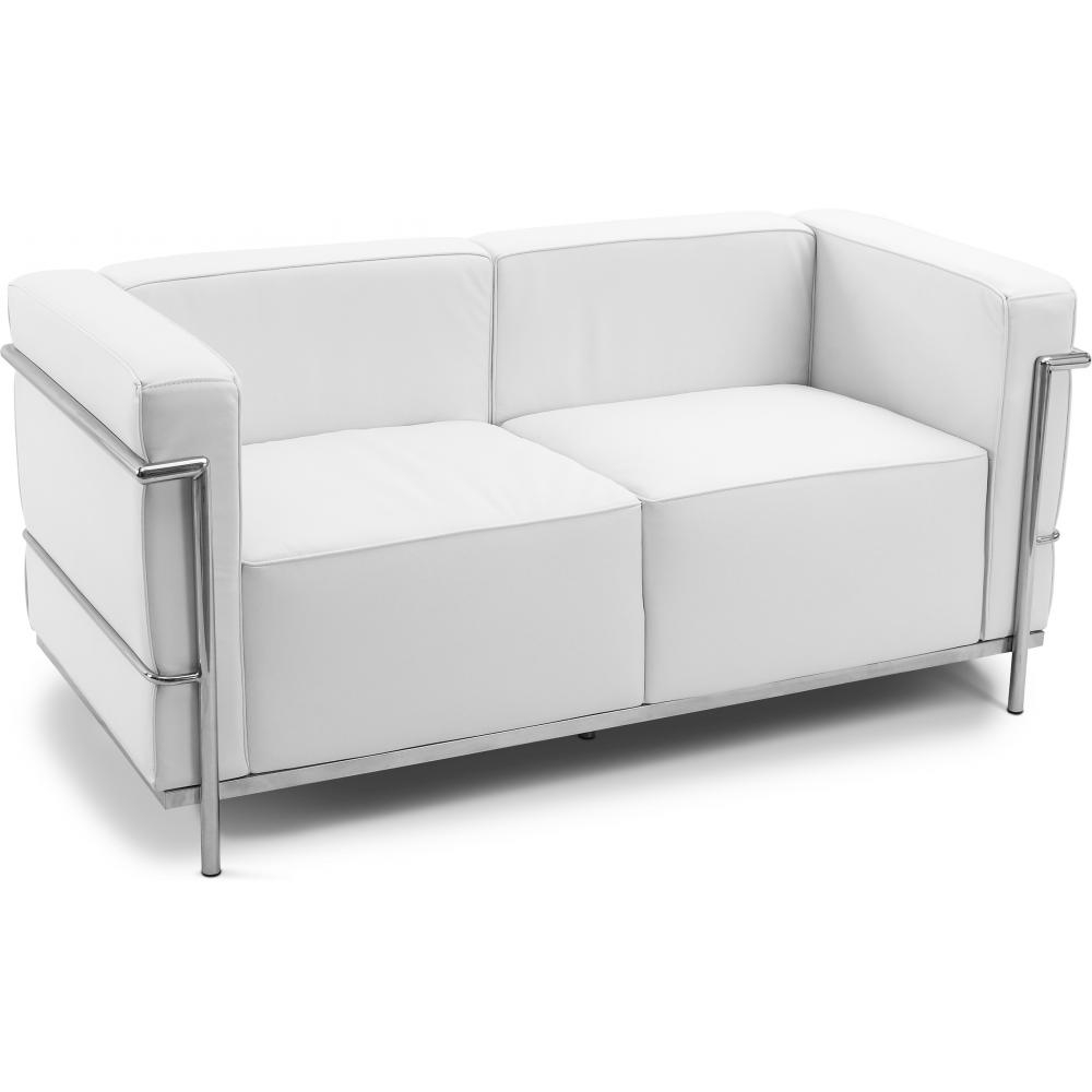 Canap cuir blanc 2 places inspir lc3 le corbusier - Canape 2 places simili cuir ...