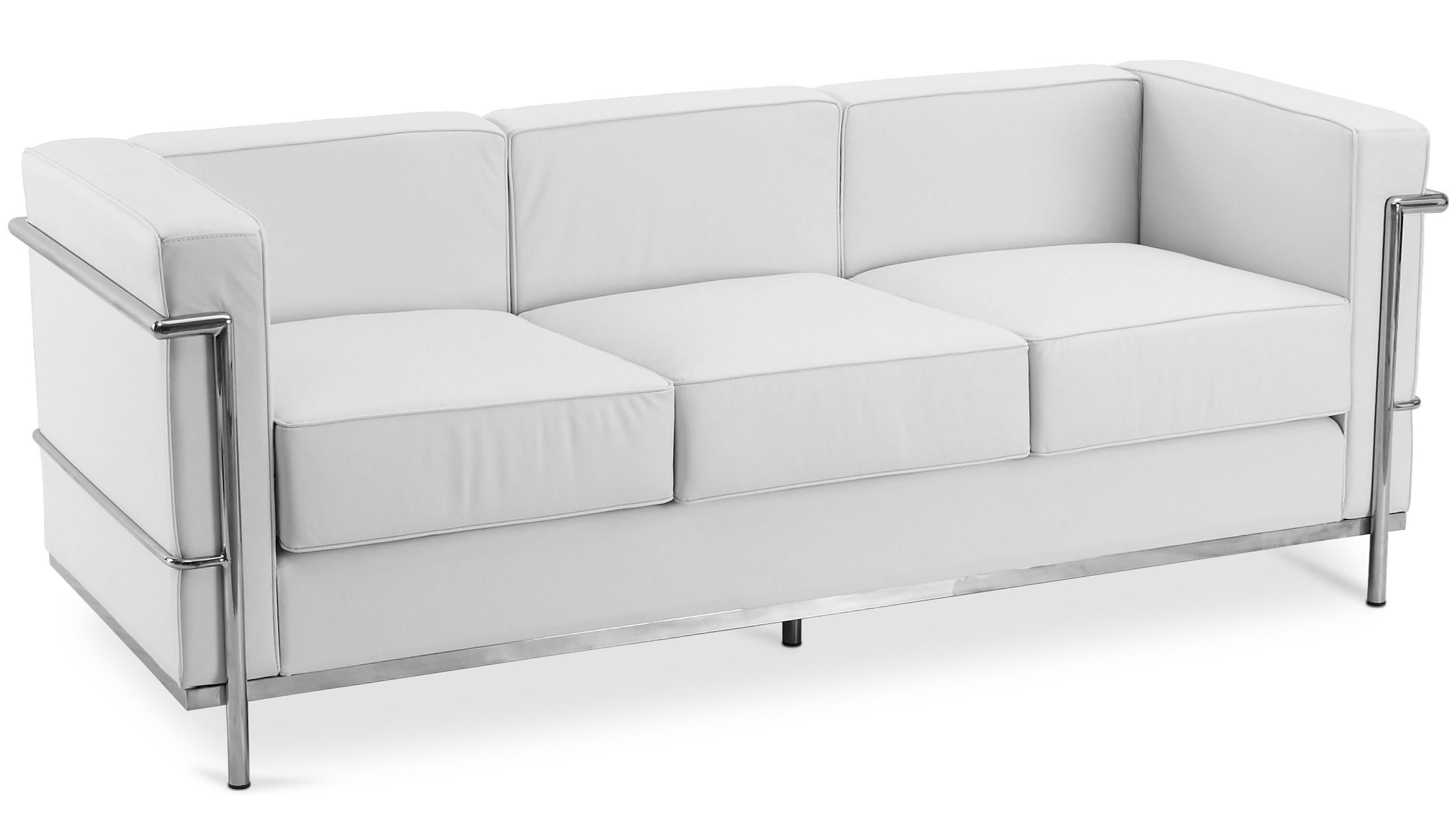 Canap cuir blanc 3 places inspir lc2 - Canape 3 places cuir blanc ...