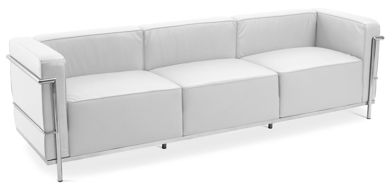 Canap design 3 places cuir blanc inspir lc3 le - Canape cuir le corbusier ...