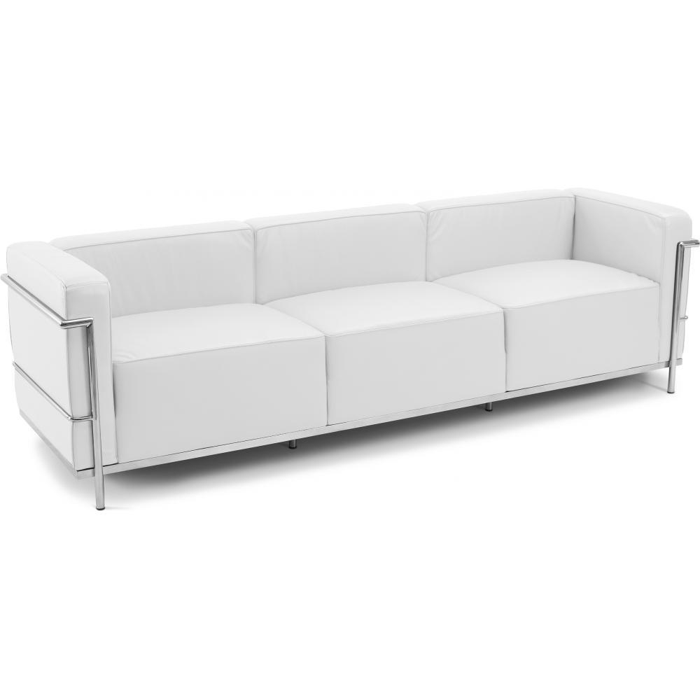 Canap cuir blanc 3 places moderne inspir lc3 le - Canape cuir le corbusier ...