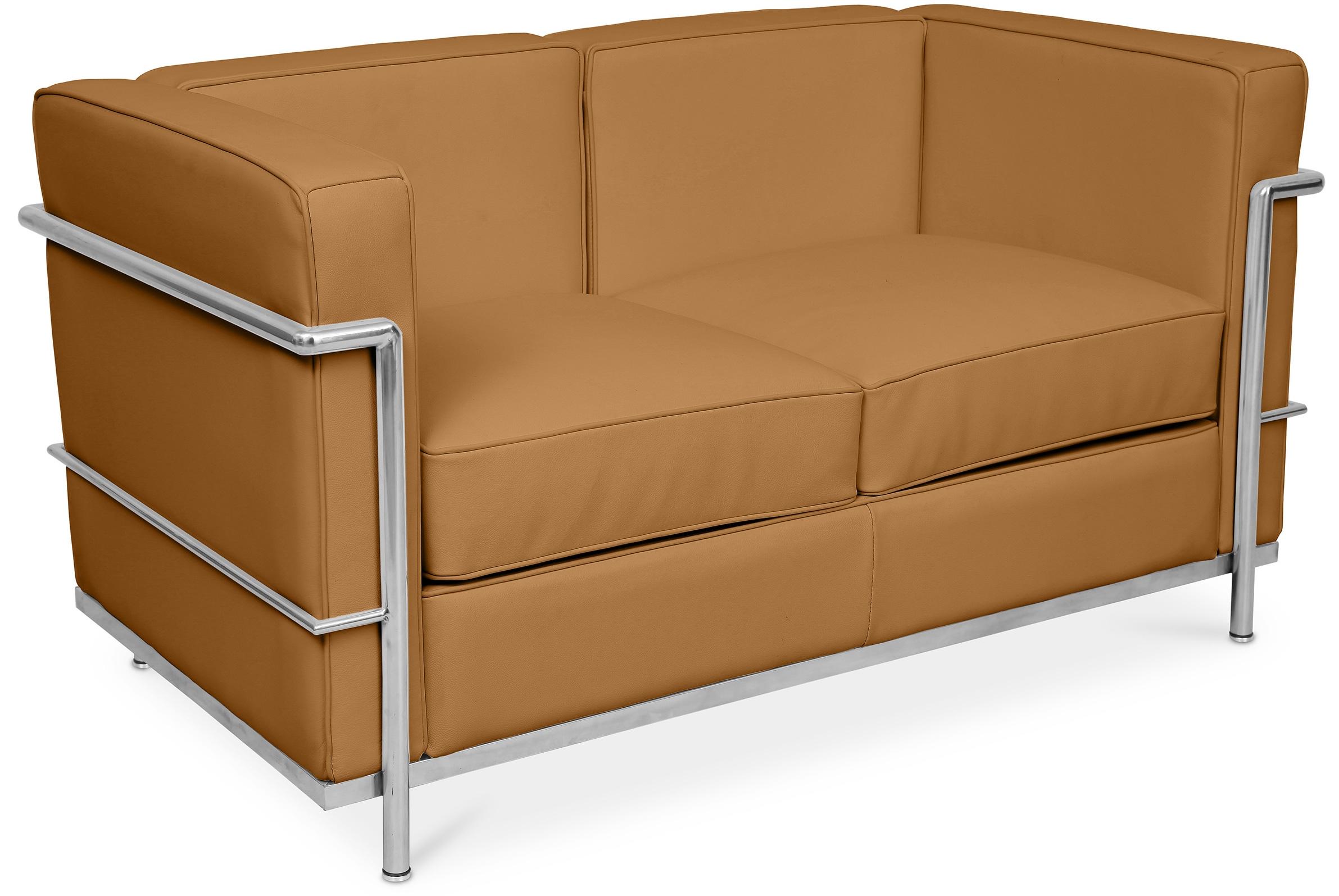 canap cuir camel 2 places l 132 inspir lc2. Black Bedroom Furniture Sets. Home Design Ideas
