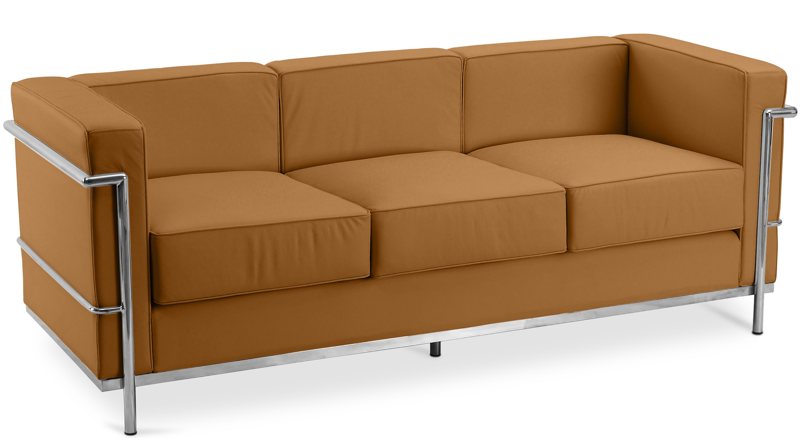 Canap cuir camel 3 places inspir lc2 - Canape cuir le corbusier ...