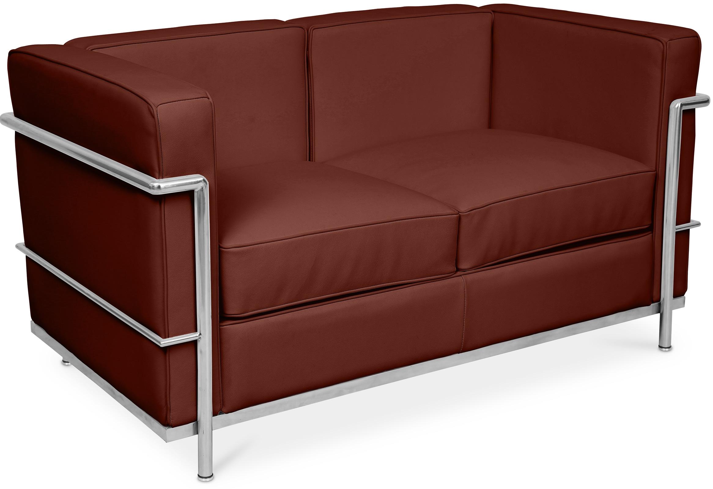 canap cuir marron 2 places l 132 inspir lc2. Black Bedroom Furniture Sets. Home Design Ideas