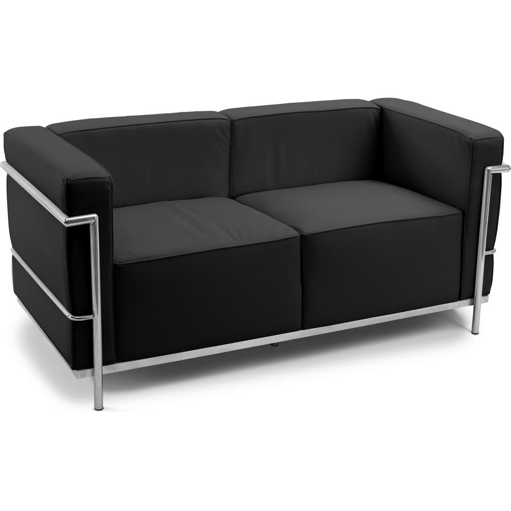 canap cuir noir 2 places inspir lc3 le corbusier. Black Bedroom Furniture Sets. Home Design Ideas