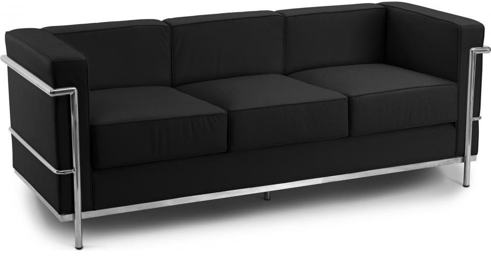 canap 3 places cuir noir inspir lc2 le corbusier. Black Bedroom Furniture Sets. Home Design Ideas