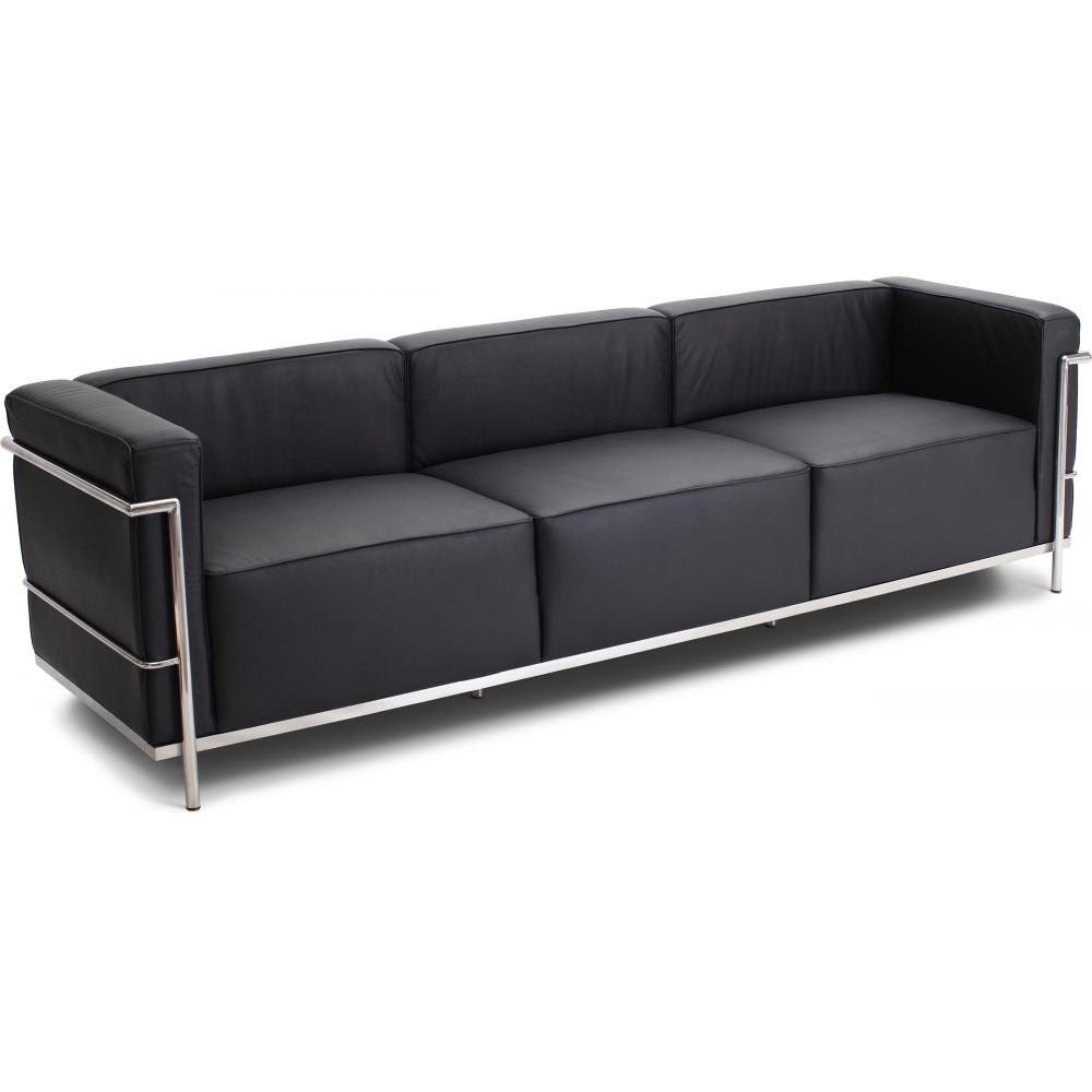canap cuir noir 3 places moderne inspir lc3 le corbusier. Black Bedroom Furniture Sets. Home Design Ideas