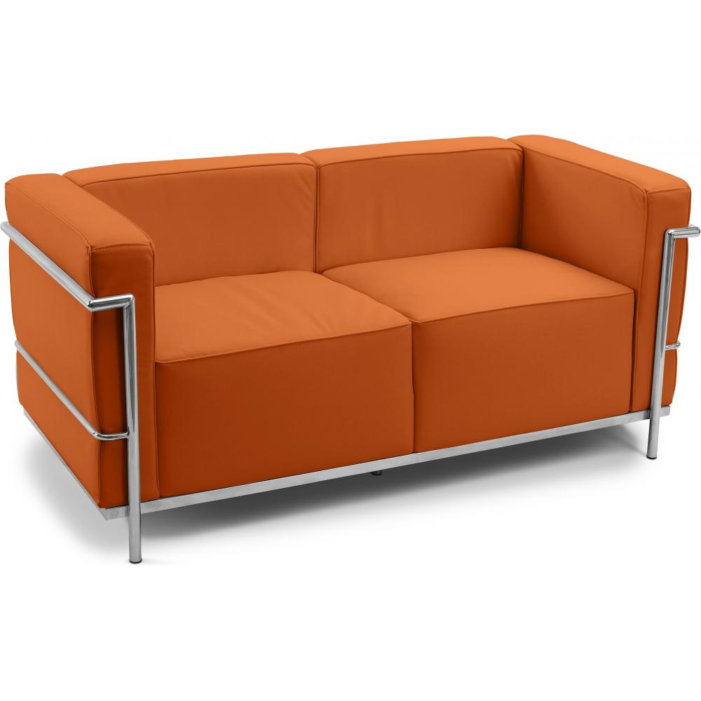 canap cuir orange 2 places inspir lc3 le corbusier. Black Bedroom Furniture Sets. Home Design Ideas