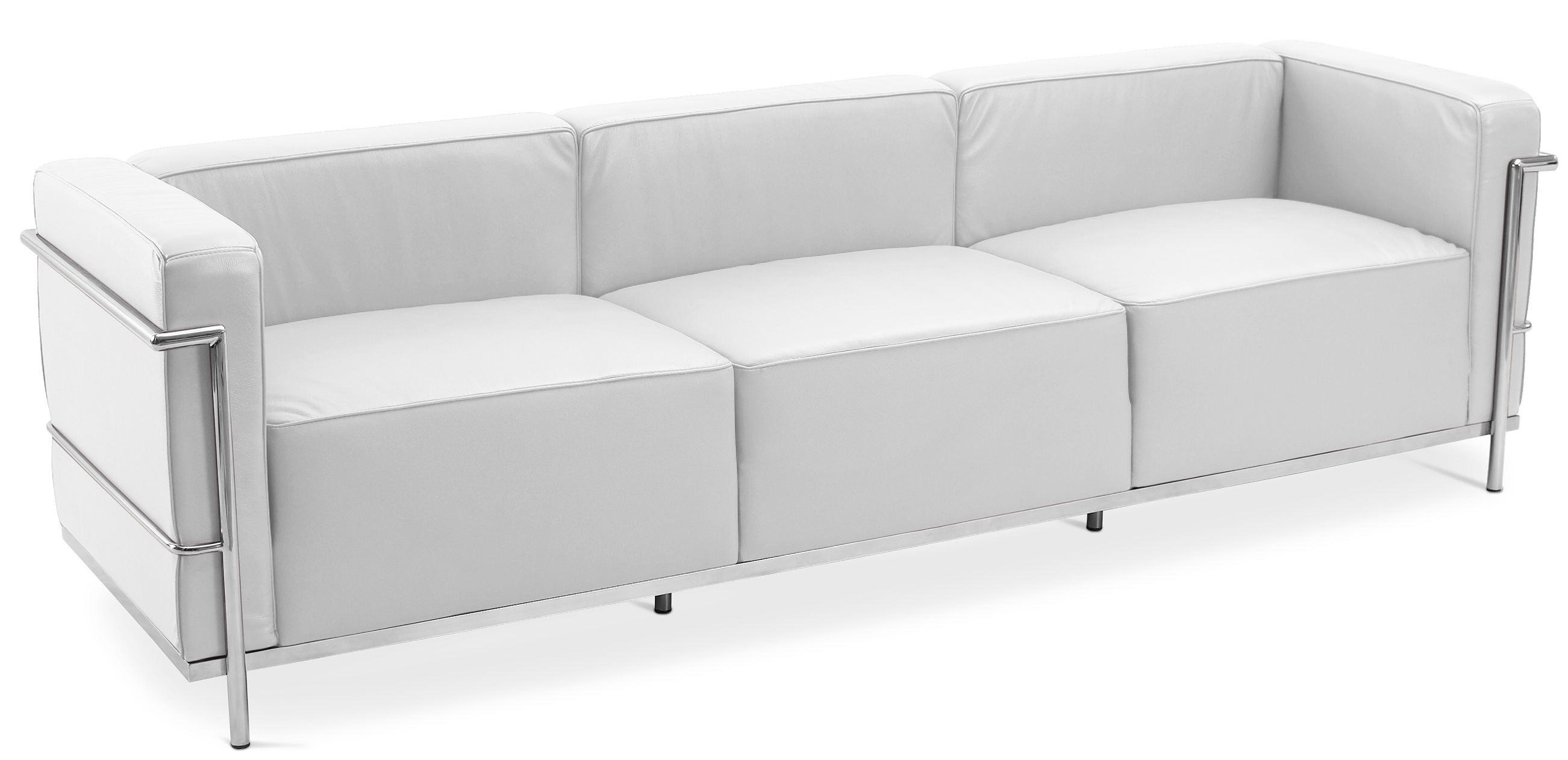 canap cuir premium blanc 4 places moderne inspir lc3 le corbusier. Black Bedroom Furniture Sets. Home Design Ideas