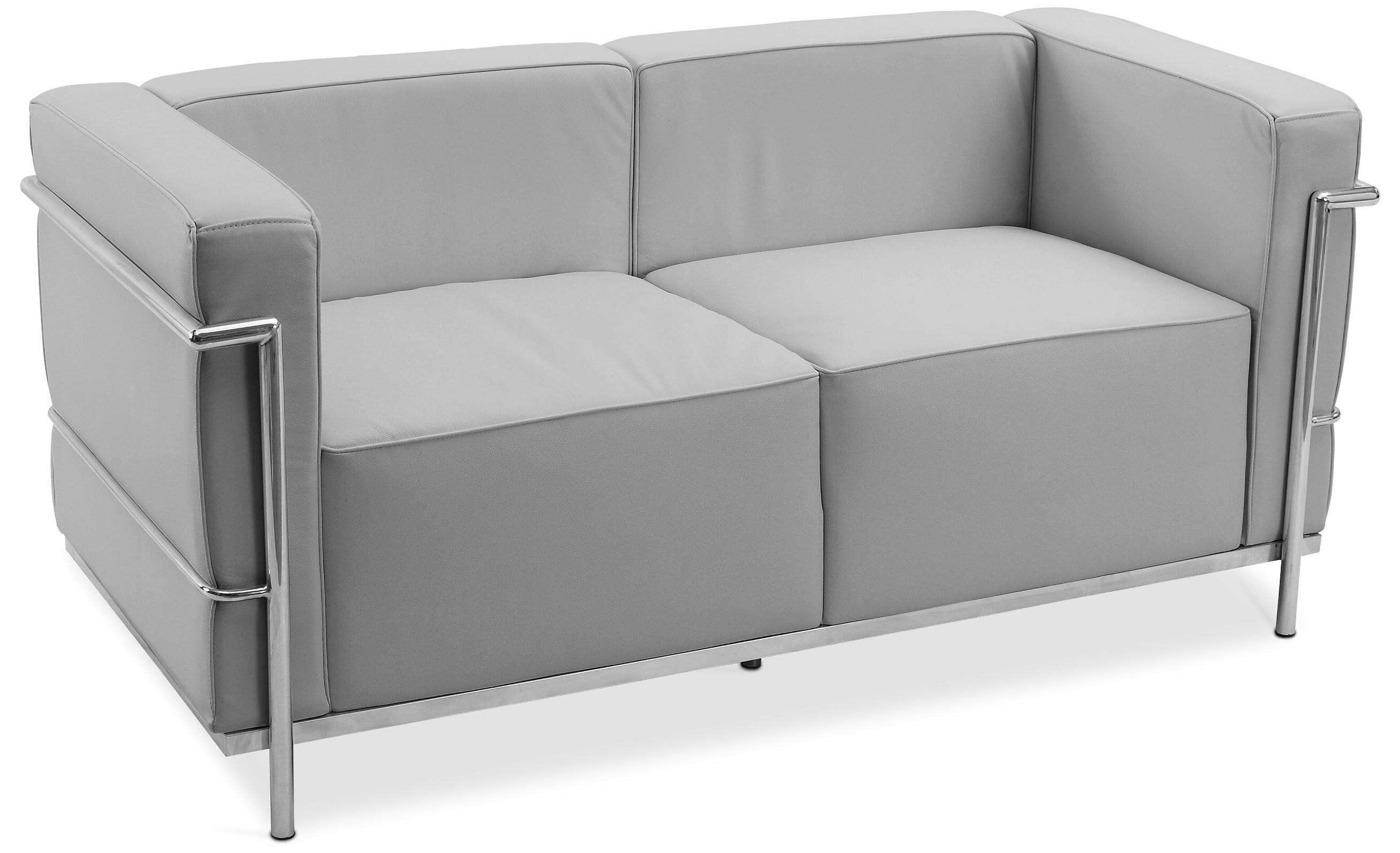 canap design 2 places cuir gris inspir lc3 le corbustier. Black Bedroom Furniture Sets. Home Design Ideas