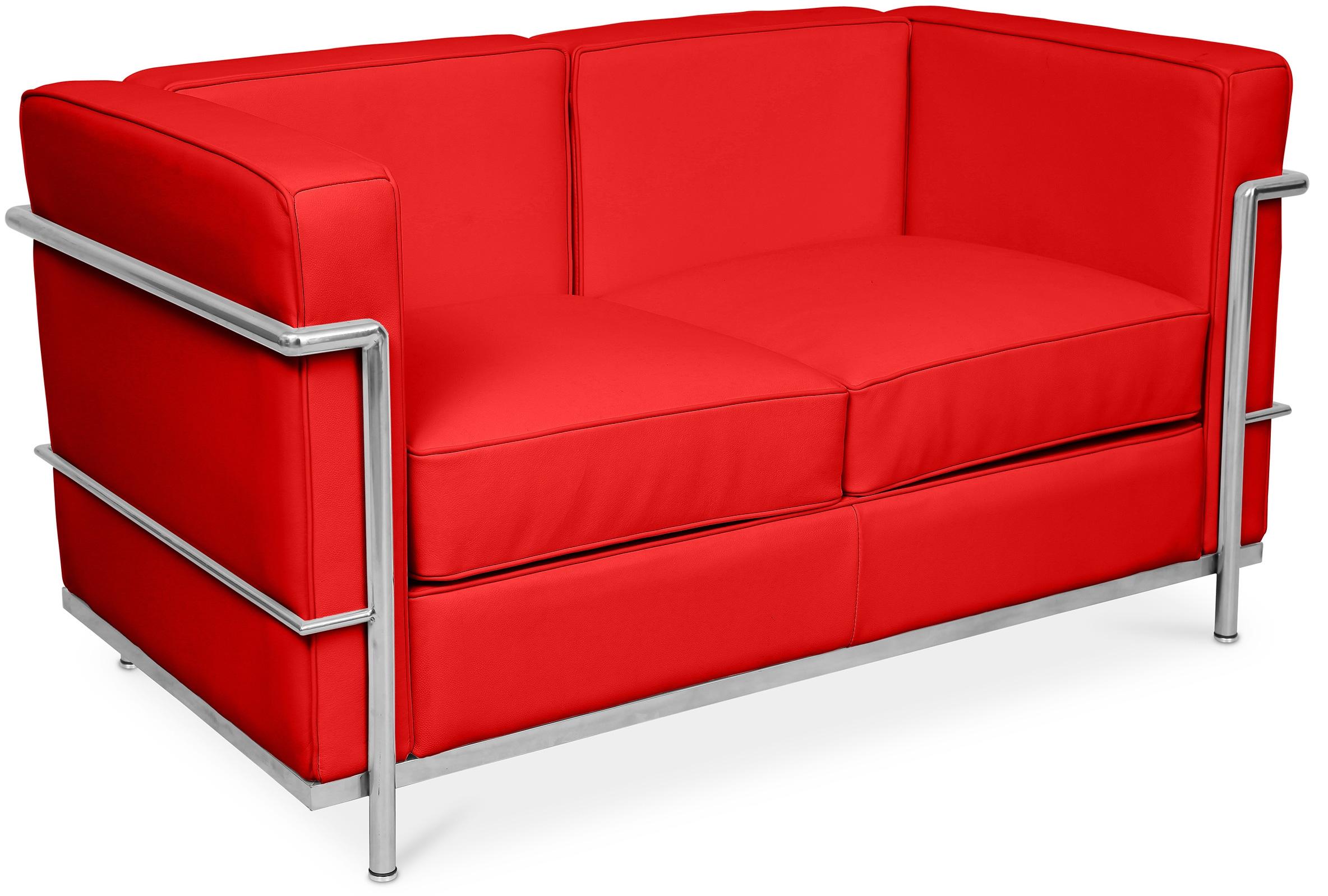 canap cuir rouge 2 places l 132 inspir lc2. Black Bedroom Furniture Sets. Home Design Ideas