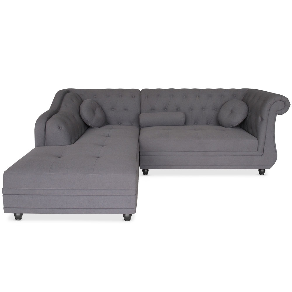 Canap d 39 angle brittish tissu gris style chesterfield for Canape d angle chesterfield