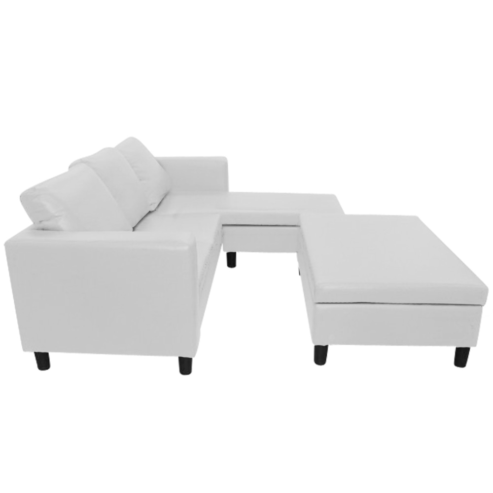canap d 39 angle convertible avec coffre pouf assorti primo blanc. Black Bedroom Furniture Sets. Home Design Ideas