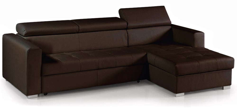 Canape angle convertible marron maison design for Canape d angle cuir vieilli marron