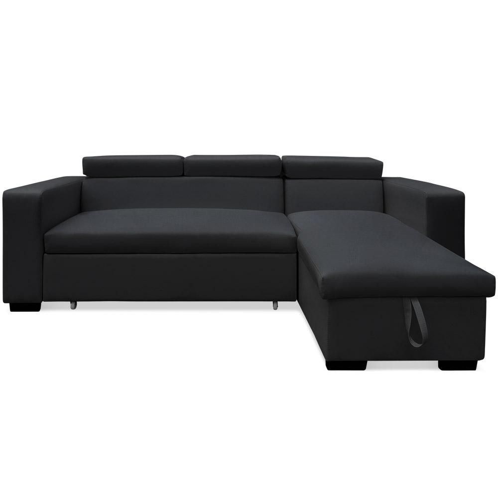 canap d 39 angle convertible coffre et t ti res relevables noir mya. Black Bedroom Furniture Sets. Home Design Ideas