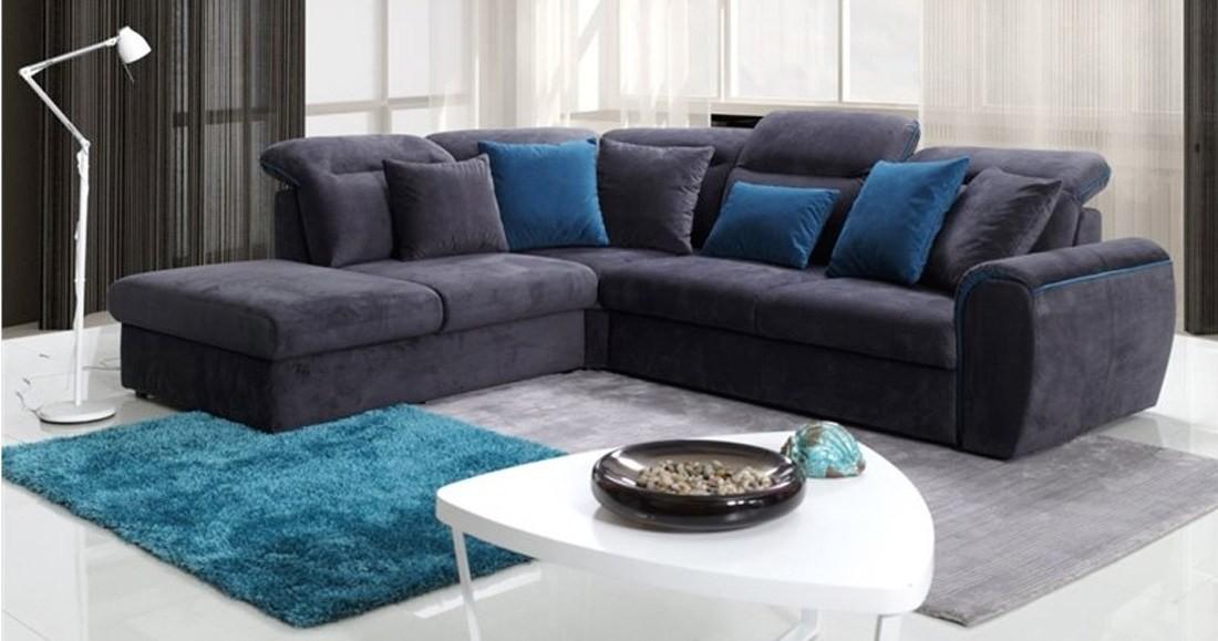 canap d 39 angle convertible velours gris fonc fine. Black Bedroom Furniture Sets. Home Design Ideas