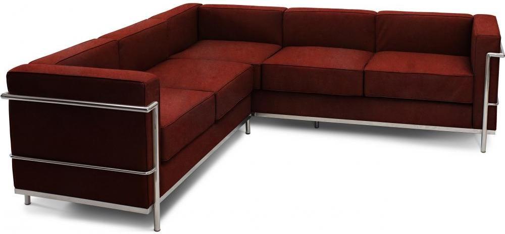 canap d 39 angle cuir cognac inspir lc2 le corbusier. Black Bedroom Furniture Sets. Home Design Ideas