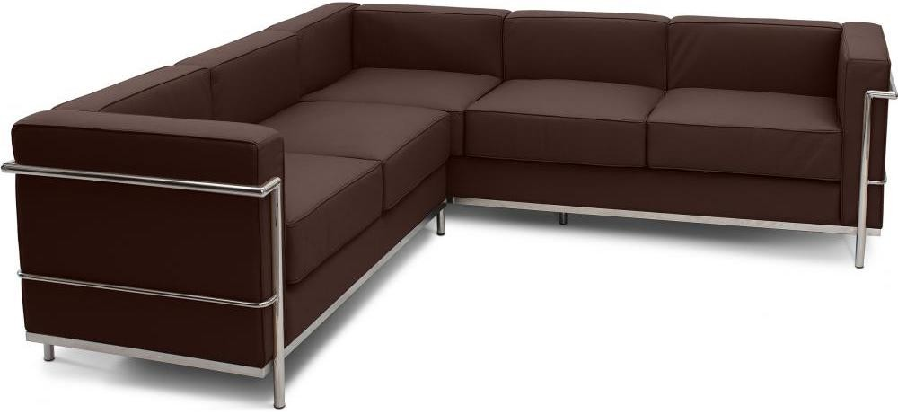 canap d 39 angle cuir chocolat inspir lc2 le corbusier. Black Bedroom Furniture Sets. Home Design Ideas