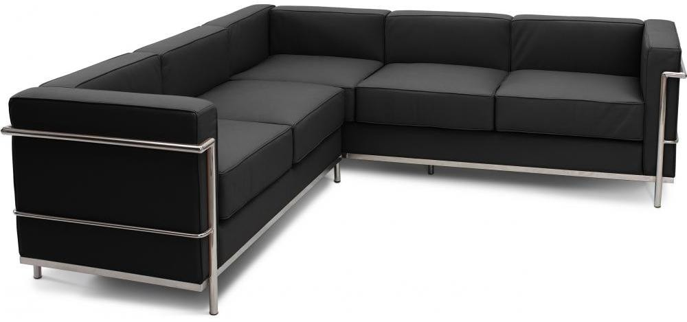canap d 39 angle cuir noir inspir lc2 le corbusier. Black Bedroom Furniture Sets. Home Design Ideas