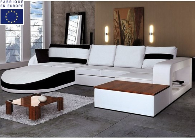 canap d 39 angle design simili blanc et noir angle gauche. Black Bedroom Furniture Sets. Home Design Ideas