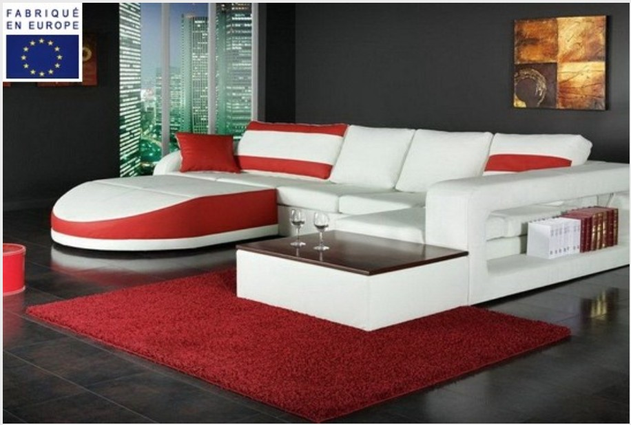 canap d 39 angle design simili blanc et rouge angle gauche. Black Bedroom Furniture Sets. Home Design Ideas