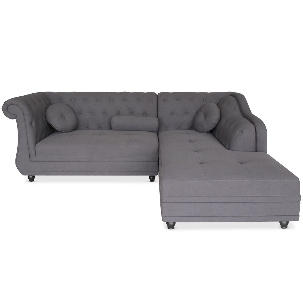 canap angle droit brittish tissu gris style chesterfield. Black Bedroom Furniture Sets. Home Design Ideas