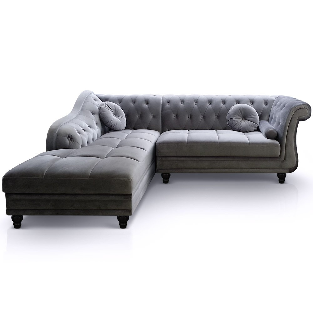 canap d 39 angle droit en velours gris chesterfield. Black Bedroom Furniture Sets. Home Design Ideas