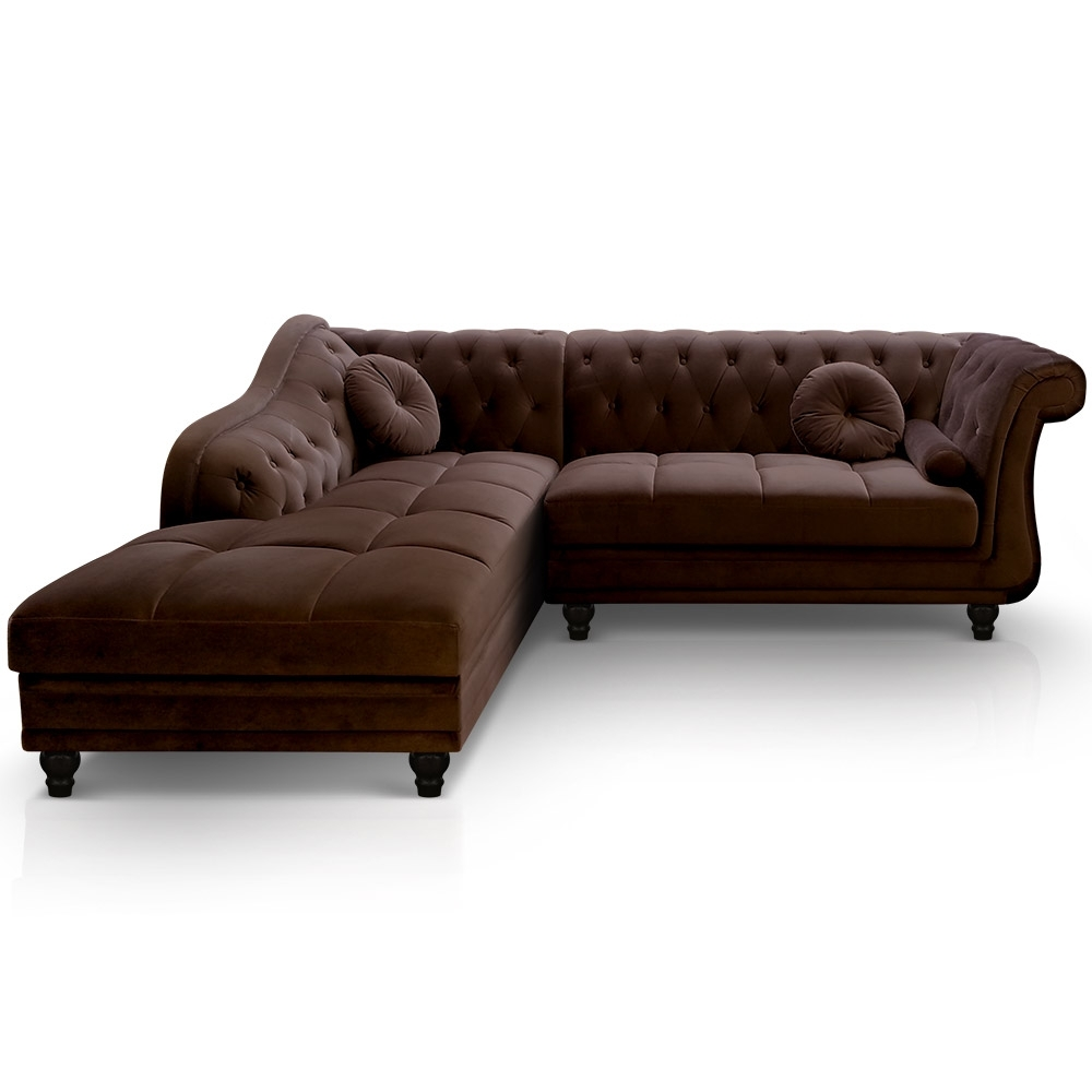 Canap d 39 angle droit en velours marron chesterfield for Canape chesterfield en velours