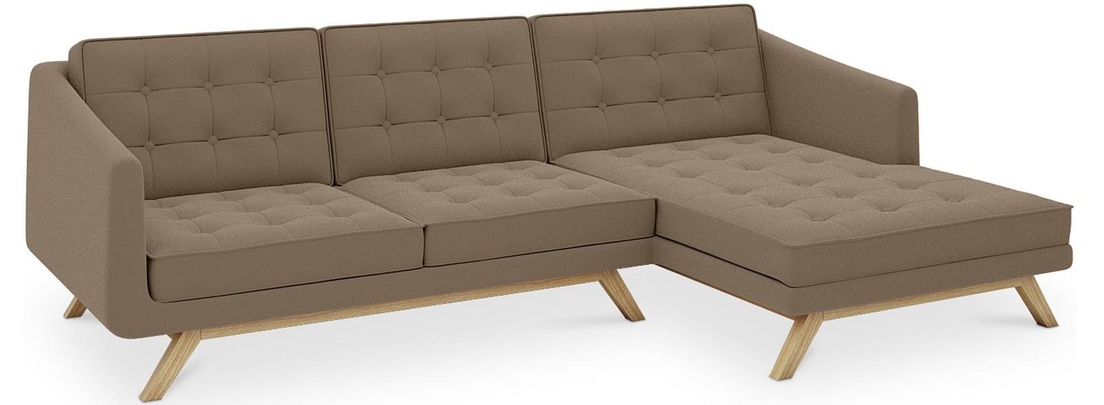 canap d 39 angle droit scandinave tissu marron carlos. Black Bedroom Furniture Sets. Home Design Ideas