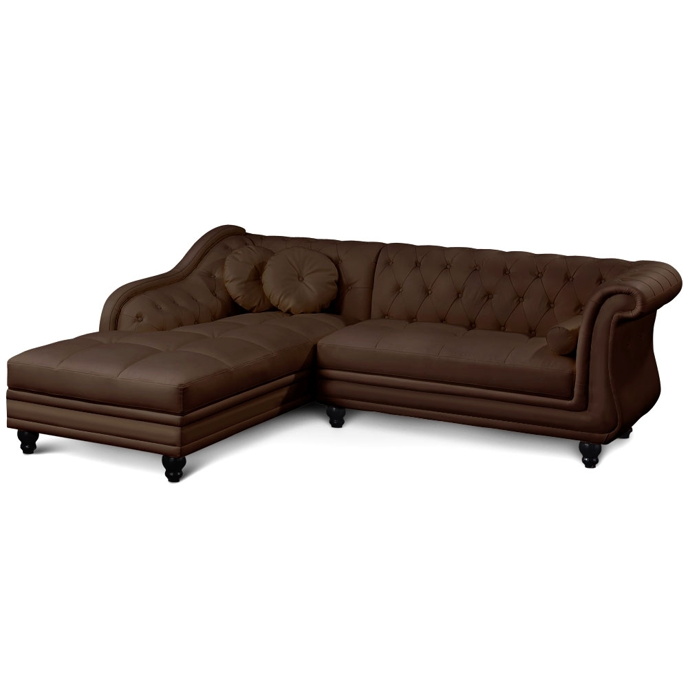canap d 39 angle droit simili marron chesterfield. Black Bedroom Furniture Sets. Home Design Ideas