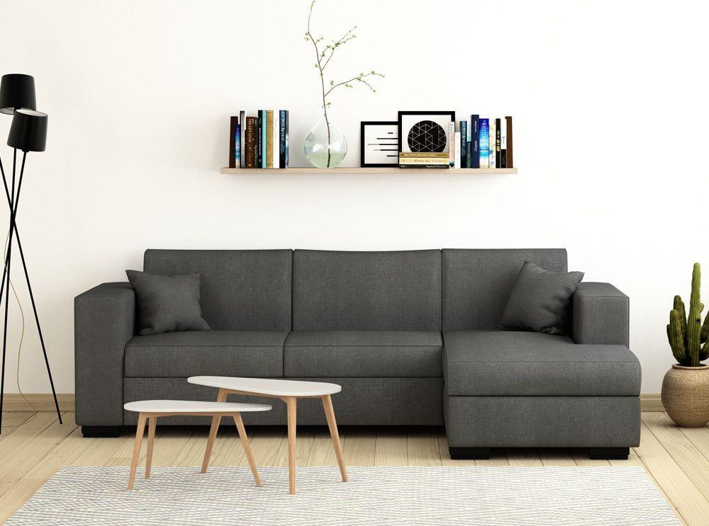 canap d 39 angle droit tissu gris clair briko. Black Bedroom Furniture Sets. Home Design Ideas