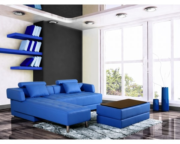 canap d 39 angle en cuir bleu r versible et convertible. Black Bedroom Furniture Sets. Home Design Ideas