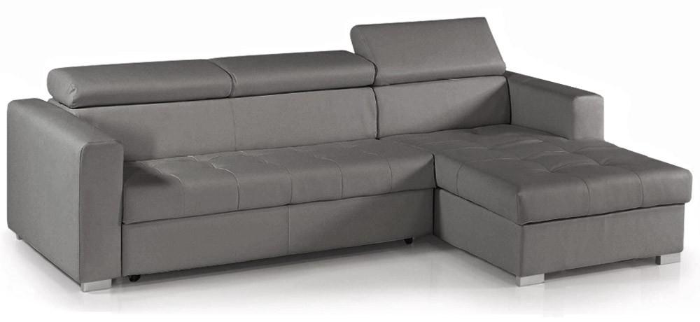 Canap d 39 angle convertible avec t ti res simili cuir gris for Canape cuir convertible avec meridienne