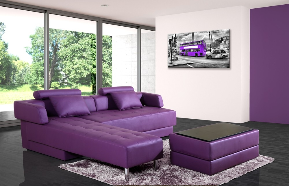 canap d 39 angle cuir violet r versible et convertible largo. Black Bedroom Furniture Sets. Home Design Ideas