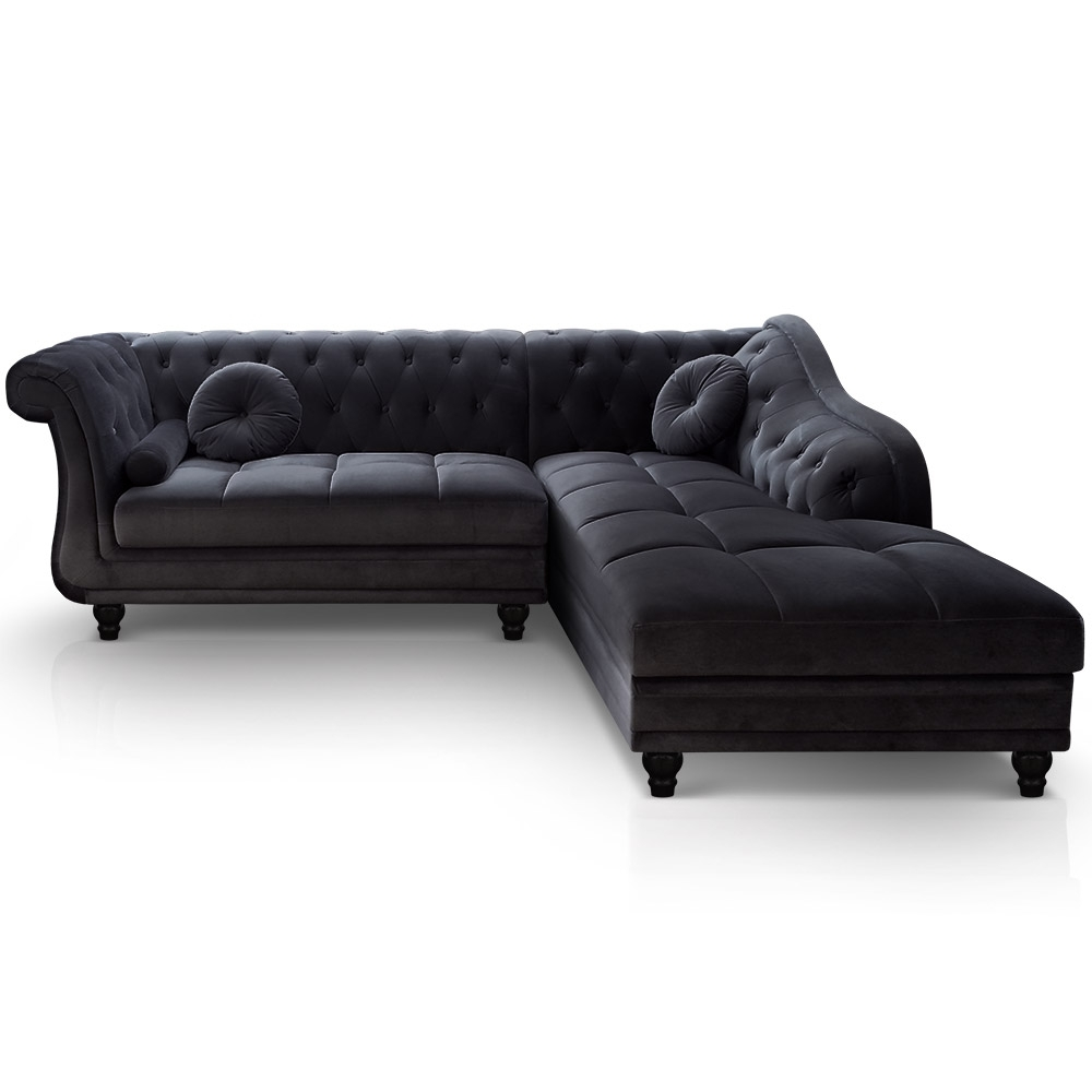 Canap d 39 angle gauche en velours chesterfield for Canape d angle chesterfield